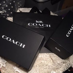Coach boxes and shopping bag